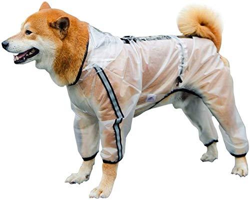 Chubasqueros Impermeables Días de Lluvia Perro Transparente Chaqueta de Lluvia Completa Abrigo Cuatro Patas Poncho Sudaderas con Tira Reflectante (Color : Blanco, Size : 4XL)