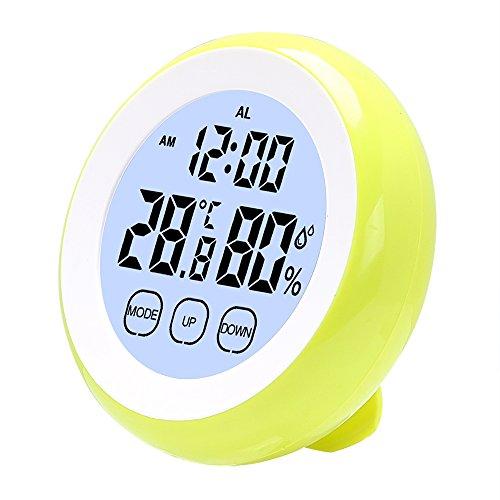 iTimo Digitales LCD-Thermometer Hygrometer Uhr mit Hintergrundbeleuchtung Innen-Wetterstation Elektronische Temperatur Luftfeuchtigkeitsmesser (Grün)