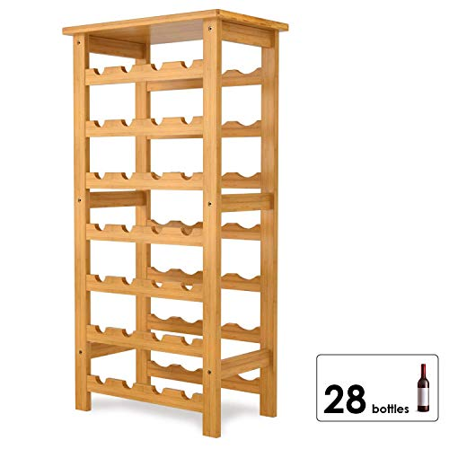 Homfa Bambus Weinregal für 28 Flaschen mit Ablage Flaschenregal Weinschrank Weinhalter Weinständer Flaschenständer Weinflaschenhalter 94x47x29cm
