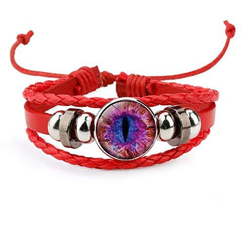 Pupila de gato patrón de ojo de dinosaurio pulsera de cuero de gema ojo de demonio pulsera de la suerte gift-12022304