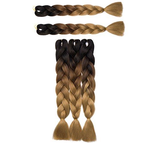 Haarverlängerung 60cm Crochet Braids Two Tone Ombre Braiding Haar Synthetik Braid 5 Pcs/500g Dunkel schwarz bis hellbraun bis aschblond