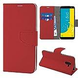 N NEWTOP Cover Compatibile per Samsung Galaxy J6 2018, HQ Lateral Custodia Libro Flip Chiusura Magnetica Portafoglio Simil Pelle Stand (Rosso)