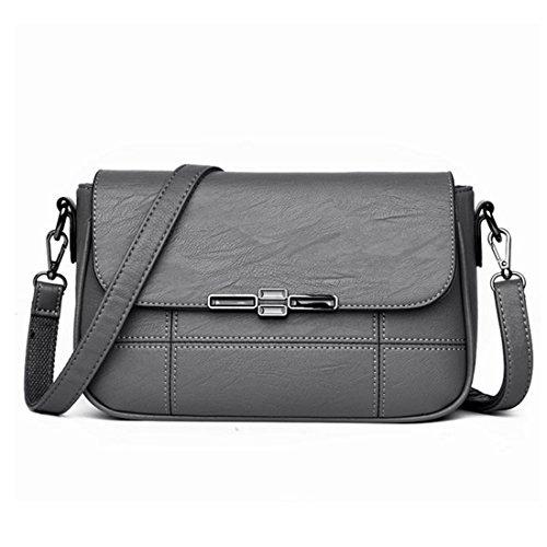 Mkulxina Frauen Soft-Leder Mum Taschen Schultertasche Damen Handtasche Schultertasche Casual (Color : Gray)