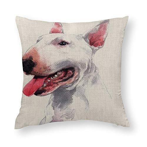 DONL9BAUER Bull Terrier Funda de almohada de algodón personalizado para los amantes de los perros Funda de cojín decorativa para coche sofá dormitorio regalo de inauguración de la casa 30 x 30 cm