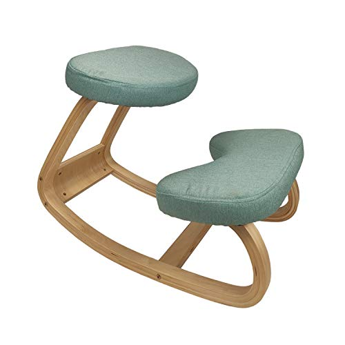 Wooden Ergonomic Kneeling Chair for Home Office Rocking Balancing Wood Knee Stool Thicker Comfortable Cushions Relief of Back and Neck Pain Improvement of Posture Improve Your Sitting Posture