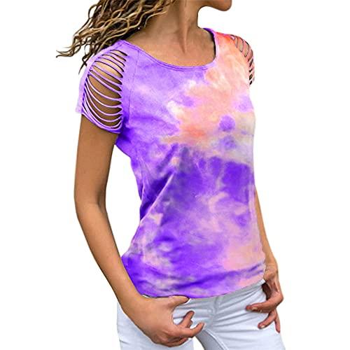 Blusa de verano para mujer Camisas Tie-dye Manga corta con hombros descubiertos Camiseta rasgada Pullover Tee Casual Tops Camiseta de manga corta con estampado de teñido anudado y hombros descubiertos