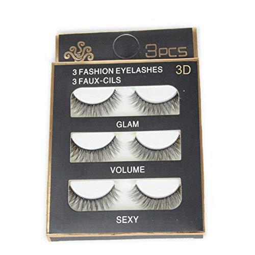 3 Pairs Imported Fiber 3D False Eye lashes Handmade Reusable Long Cross Makeup Natural 3D Fake Thick Black EyeLashes