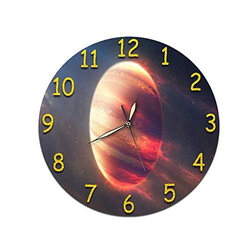LUOYLYM Geschenkuhr Digitale Wanduhr Acryluhr Stummschaltuhr Wandaufkleber Uhr Randloser Wecker D-381 (Luminous Hands) 28cm