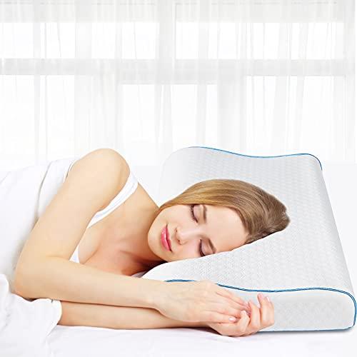 Almohada viscoelástica de 60 x 35 cm, Almohada para el Cuello de Altura Regulable, Almohada para Dormir de Espuma de Gel viscoelástica, Almohada para el Cuello para el Dolor de Cuello Blanco
