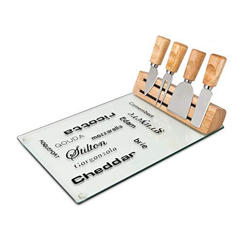 ROMINOX Geschenkartikel Käse-Set // Vetro – Pflegeleichtes Käsezubehör 5-teilig: Glasplatte, Holzkörper mit magnetischer Halterung, 4 praktische Käsebesteckteile; Maße: ca. 30 x 20 x 12 cm