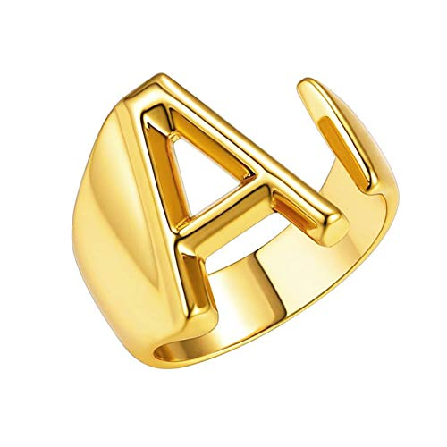Gold A Bold Initial Letter Open Ring for Teen Girls Adjustable Women Statement Rings Party Women's Signet Ring Alphabet Rings Letter A to Z