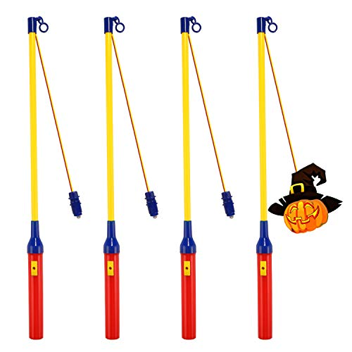 [4 Pack]Laternenstab mit LED für St Martin, LED Elektronischer Laternenstab für Kinderpartys, Kindergarten, Kostümpartys, Halloween, Weihnachten und Mehr
