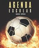 Agenda Escolar 2021-2022 futbol: Planificador semanal para niñas y niños   1 semana en 2 páginas   Agenda 2021 2022 semana vista   Material escolar colegio secundaria estudiante   Portada Balón
