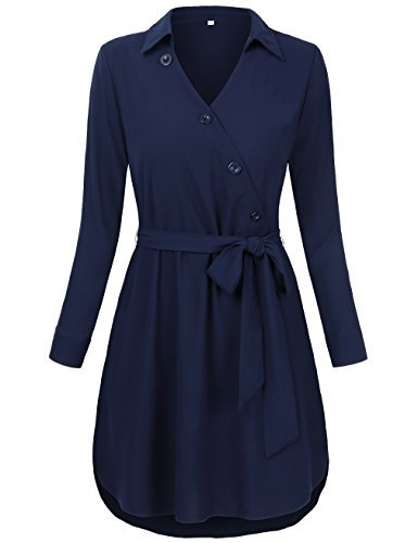 Wear to Work Dresses for Women,HNNATTA Mini Dresses Thin Leggings Shirt Long Sleeve Casual Shirts Working Tops Autumn Blue X-Large