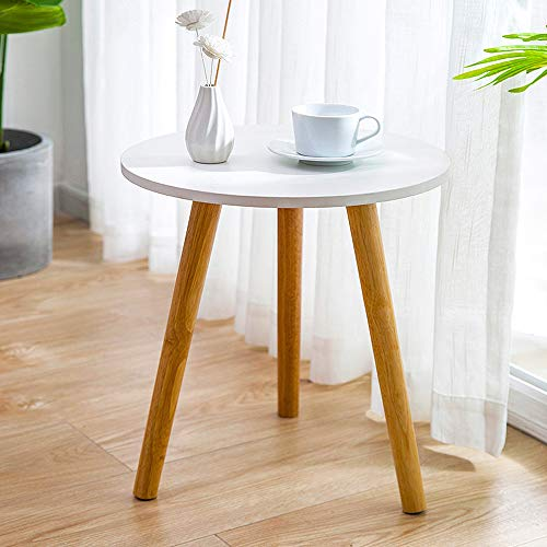 QIHANG-UK Small Sofa Side Table Simple Round Living Room End Table for Small Spaces, Nightstand Table for Bedroom, White