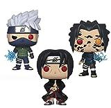 Qwead 3 Piezas Anime Naruto Hatake Kakashi Sasuke Curse Mark Uchiha Itachi Figura Colección Pop Vini...