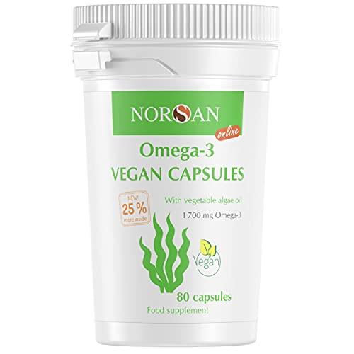 NORSAN Premium Omega 3 Vegan Kapseln hochdosiert - 1.700 mg Omega-3 pro Tagesdosis - 4.000 Ärzte empfehlen NORSAN - kein fischiges Aufstoßen - NEU 80 statt 60 Kapseln