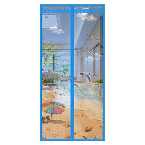 Moskito-Vorhang Magnetische Fliegengittertüren schließen Netzvorhänge automatisch mit starken Magneten - lückenlose Insektentüren Sorgen für Frischluftzufuhr (Multi-Size), blau