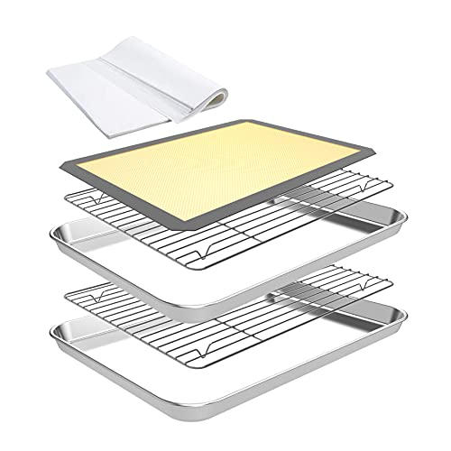 CEKEE 55pcs Baking Sheet Set ,2pcs Stainless Steel Nonstick Oven Baking Pans & Professional Cooling Rack Tray for Cookie,Silicone Baking Mat & 50 Parchment Papers Oven Dishwasher Safe (12 Inch)