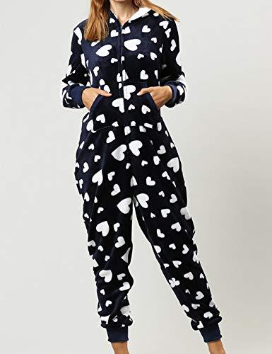 Orshoy Damen Jumpsuit Teddy Fleece Einteiler Overall Anzug Flauschig Schlafanzug Overall Loungwear Navy-Weiß XL - 4
