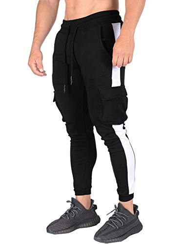 Uni Clau Mens Sports Jogger Cargo Pants - Side Tape Drawstring Waist Sweatpants Flap Pocket Trousers for Men Black