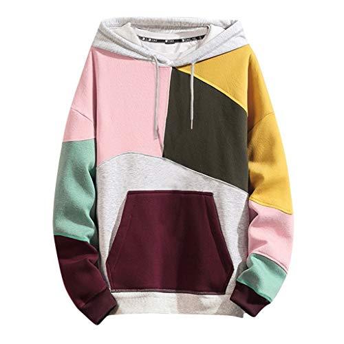 KaloryWee 2020 Herren Frühjahrsmode Farbe Patchwork Kapuzenpullover T-Shirt Sweatshirt Hooded Pullover mit Kapuze mit Tasche M-5XL Casual Outwear