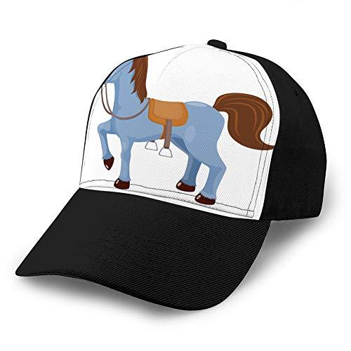 jiilwkie 949 Gorras de béisbol de Rejilla para Adultos Sombrero de sombrilla Unisex Sombrero de Malla Gorra Snapback Caballo Lindo con Montura Sombrero de Malla