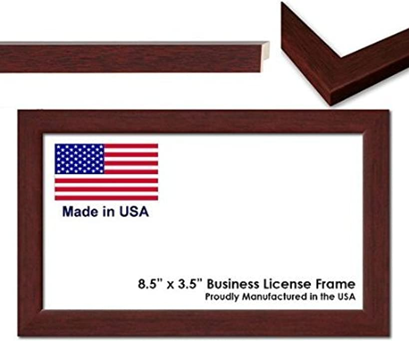 8.5 x 5.5 Inch Professional Business License Frame - Brown Wood