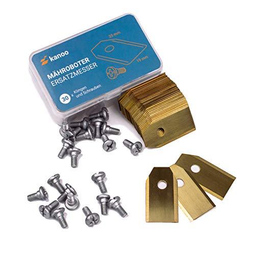 Mähroboter Klingen, 30x Titan Ersatzmesser für Gardena® / Husqvarna® Automower® - Premium Mähroboter Messer (0,75mm - 3g) Rasenmäher Roboter Ersatzklingen mit verbessertem Konzept