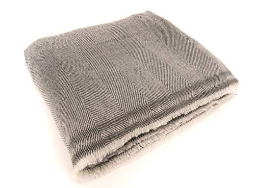 """Bodhiartistry Extra Soft Cashmere Wool Blanket/Throw - Made in Nepal Size 56"""" x 102"""""""
