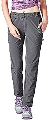 Women's Hiking Pants Outdoor Lightweight Quick-Drying Sportswear Travel Pants with Zipper Pocket Dark Gray L