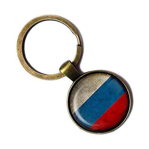 Russia Russian Россия Russland Russisch Flagge Keychain Bronze Schlüsselanhänger