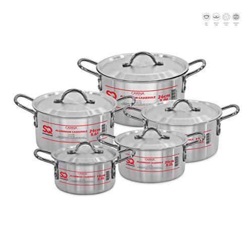 SQ Professional Galaxis Carina - Set di casseruola in alluminio con coperchio, 18 - 26 cm