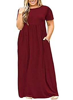POSESHE Women Short Sleeve Loose Plain Casual Plus Size Long Maxi Dress with Pockets Wine Red 2XL