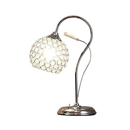 ZCCLCH Crystal lámpara de escritorio de la lámpara de cabecera romántica del diseño moderno minimalismo regulable E27 luz decorativos adecuados for el dormitorio sala de estar de noche lámpara de mesa