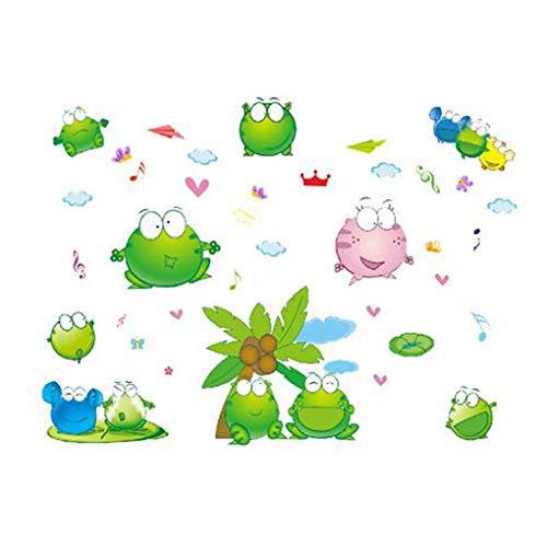 Mode Étanche Autocollant Mural DIY Amovible Art Papier Peint pour Bébé Garçon Fille Chambre Cuisine Fenêtre,Funny Frog
