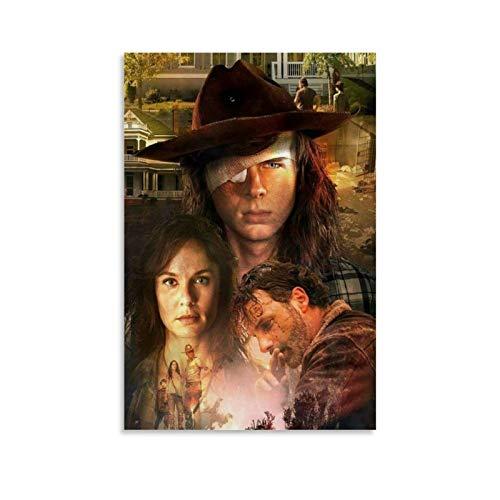 Qiuni Póster de TV Play Poster de The Walking Dead Lori Carl and Rick en lienzo y arte de la pared con impresión moderna para dormitorio familiar, 30 x 45 cm