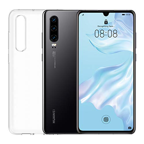 """Huawei P30 (Black) plus transparent cover, 6GB RAM, 128 GB memory, 6.1 Display """"FHD +, Triple rear camera from 40 + 16 + 8 Mpx, front camera 32 Mpx"""