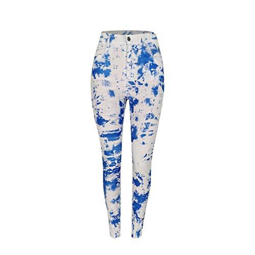 oneforus Tie Dye Impreso Leggings para Mujer Cintura Alta Moda Pantalones Rectos Señoras Streetwear Pantalones Largos Pantalones elásticos