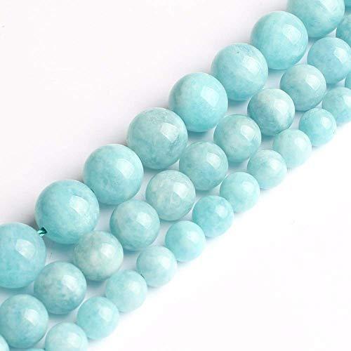 Cuentas de Aguamarina Azul de 6/8/10 mm Cuentas Redondas de Piedra Sueltas para Hacer un Collar de Pulsera con dijes de Bricolaje Hecho a Mano de 15 Pulgadas (Diámetro del artículo: 8 mm 46 p