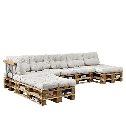 [en.casa] Sofá de palés para Interiores Set Completo con 8 Europalés 10 Cojines 2 Respaldos y 2 Apoyabrazos DIY Poliéster Espuma de Poliuretano Madera Blanco