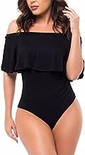 Famulily Women's Off Shoulder One Piece Swimsuit Ruffle Bodycon Bodysuit Swimwear(Black,L)