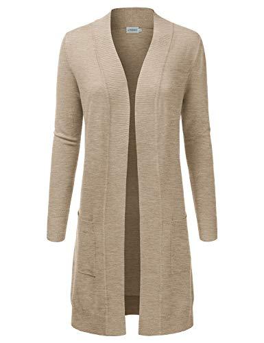JJ Perfection Womens Light Weight Long Sleeve Open Front Long Cardigan Khaki S