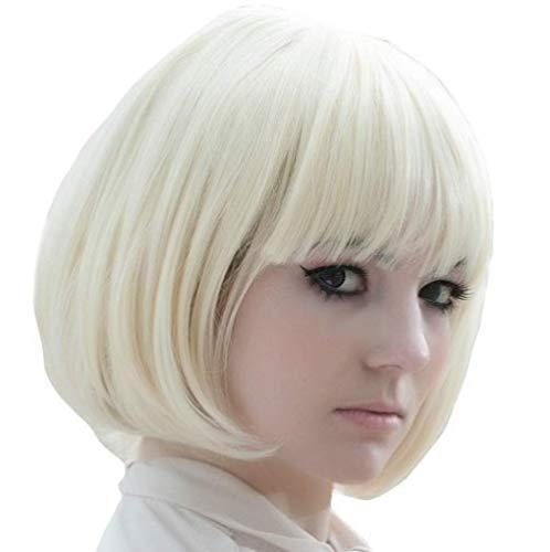 pruiken Anime pruik kort haar Qimi witte korte golf golvende kop korte pruik set reparatie gezicht kapsel