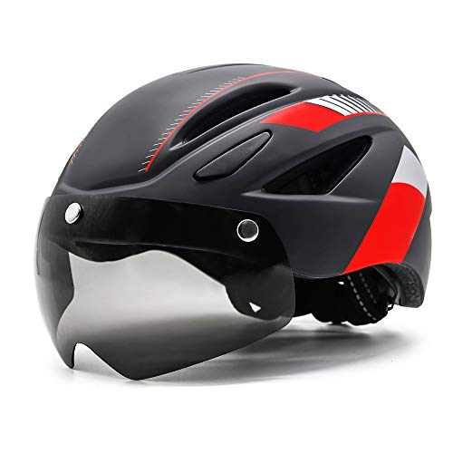 EASTINEAR Adults Bike Helmet Magnetic Goggle Cycling Helmet with USB Rechargeable Taillight for Men Women Mountain & Road Bicycle Helmet Sunglasses Shield Size M/L (Black Red)
