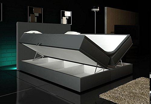 Wohnen-Luxus Boxspringbett Grau Lift 200x200 inkl. 2 Bettkästen Hotelbett Bett LED Rio