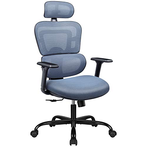 Furmax Ergonomic Office Chair Computer Desk Chair Mesh Fabric High Back Swivel Chair with Adjustable Headrest and Armrests Executive Rolling Chair with Curved Lumbar Support (Gray)