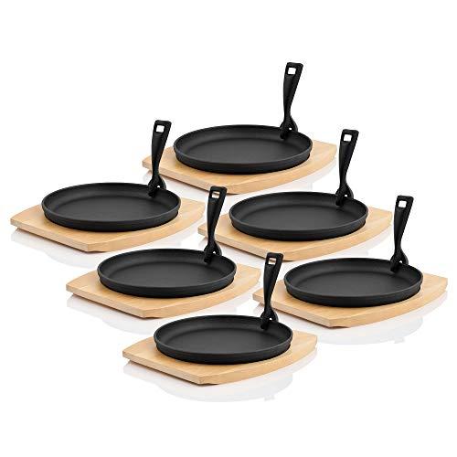 BBQ-Toro Servierpfännchen mit Holzunterlage I Ø 22 cm - rund I Gusseisen Grillpfannen Pfännchen (6)