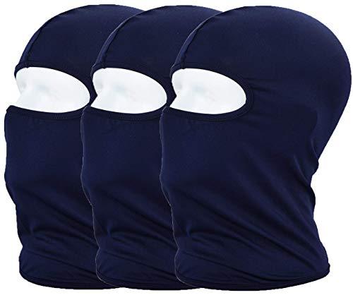 MAYOUTH Sturmhaube Balaclava UV Schutz Gesichtsmasken für Radfahren Outdoor Sports Vollgesichtsmaske Breath, Navy blau 3er Pack, M