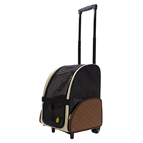 "FrontPet Airline Approved Rolling Pet Travel Carrier with Wheels and Backpack Straps, Strong Breathable Mesh Panels, 12"" W x 14.5"" L x 19.5"" H, Air Travel Pet Carrier, Airport Pet Carrier"